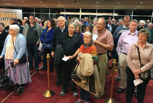 People started lining up for the evening reception at the World Championship Cheese Contest more than an hour before the doors opened on March 5, 2020, at Monona Terrace in Madison.