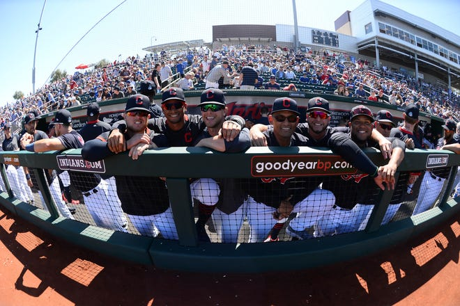 March 7: Indians players pose for a photo prior to a spring training game against the Cubs.