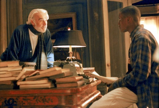 "Sean Connery (left) is a reclusive novelist and Rob Brown plays a scholarly athlete who balances basketball and writing in ""Finding Forrester."""