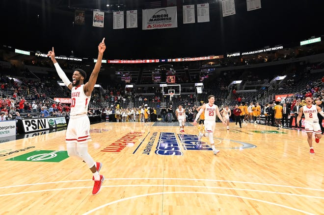 Bradley Braves forward Elijah Childs celebrates after Bradley defeated the Valparaiso Crusaders to win the Missouri Valley Conference Tournament at Enterprise Center in St. Louis.