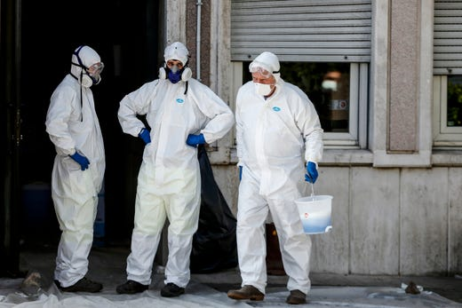 The disinfection of the buildings that host the Region Lazio are being carried out in Rome, Sunday, March 8, 2020. The sanitization was ordered after the Region Lazio Governor Nicola Zingaretti revealed being positive to Coronavirus test.