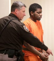 Demetrius Williams, 25, of Appleton, makes his initial appearance in Outagamie County court on Monday, March 2, 2020, in Appleton, Wis. Williams is accused of killing Zyana Corbin, 3, and severely injuring a 27-year-old pregnant woman last week.