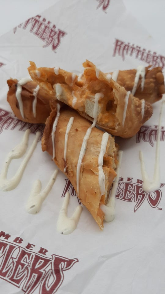Buffalo Chicken Egg Rolls won the 2020 Wisconsin Timber Rattlers Food Fight contest to earn a roster spot on the team's concession menu.
