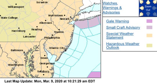 The beige section of the map will be under a hazardous weather outlook Monday