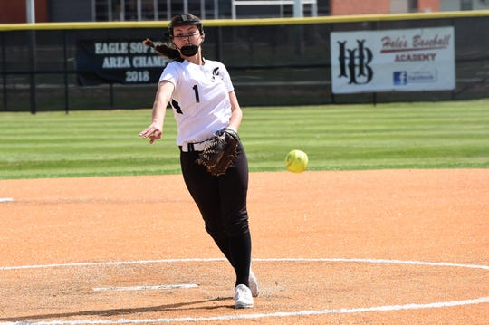 Abilene High pitcher Maddie Perez (1) lets go of the ball during the District 3-6A game against Hurst Bell. Perez allowed one run on three hits with four strikeouts in the 19-1, five-inning victory.
