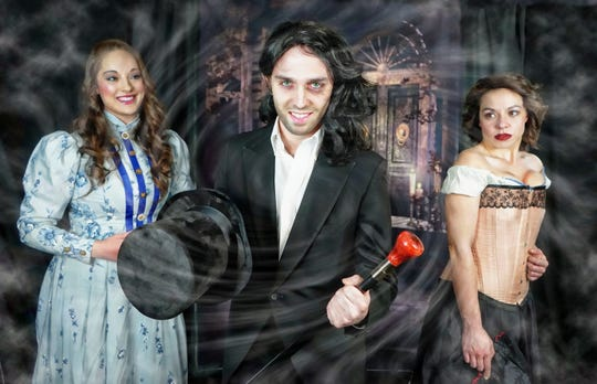 """Tri-Town Theatre Inc. will presents """"Jekyll & Hyde the Musical"""" on March 13-15, 2020 at the Sidney High School stage. The musical features, from left, Michaela Pawluk as Emma Carew, Peter Okoniewski as Jekyll/Hyde, and Danika Lyn Clair as Lucy Harris."""