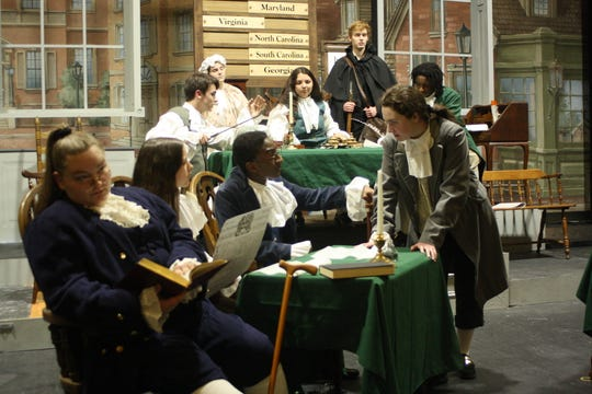 """Binghamton High School's cast of """"1776"""" rehearses a scene from the musical on March 4, 2020."""
