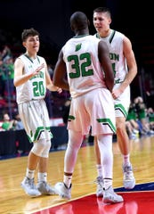 Seton Catholic Central players during a win over Norwich in the Section 4 Class B boys basketball final at the Floyd L. Maines Veterans Memorial Arena in Binghamton March 8, 2020.