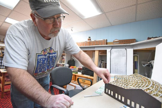 Chris Love of Ontario is building a model of the Galion roundhouse.