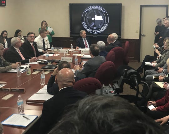 Texas Gov. Greg Abbott meets with state emergency leaders to discuss response measures to the coronavirus, Feb. 27, 2020.