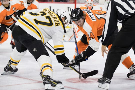 Sean Couturier and Patrice Bergeron will face one another Tuesday when the Boston Bruins visit the Flyers.
