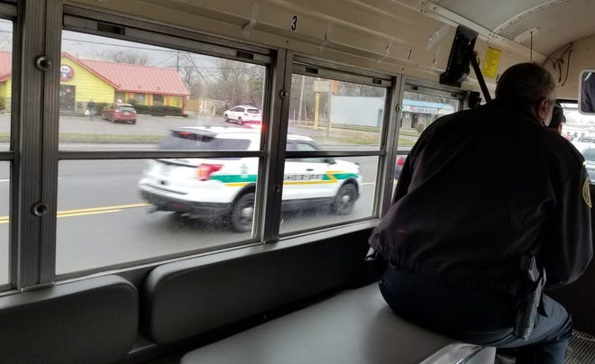 "Law enforcement conducts its traffic safety ""bus tour"" in Montgomery County on Feb. 26 2020."