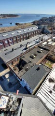 An aerial view of a roof collapse of a Washington Street in Perth Amboy. l