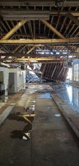 An interior view of the roof collapse of a building on Washington Street in Perth Amboy.