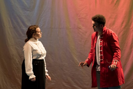 """Lillian Whitcomb who plays Sara Crewe and Quincy Bussey who plays Captain Crewe rehearse for Coshocton High School's upcoming musical, """"A Little Princess."""""""