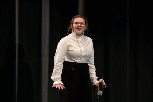 """Lillian Whitcomb who plays Sara Crewe rehearses for Coshocton High School's upcoming musical production, """"A Little Princess."""""""