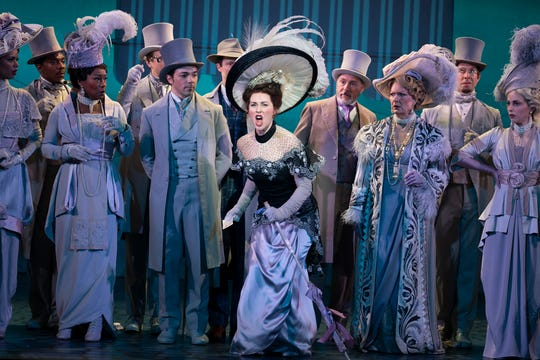 "Sam Simahk as Freddy Eynsford-Hill, Shereen Ahmed as Eliza Doolittle, Kevin Pariseau as Colonel Pickering and Leslie Alexander as Mrs. Higgins in ""My Fair Lady."""