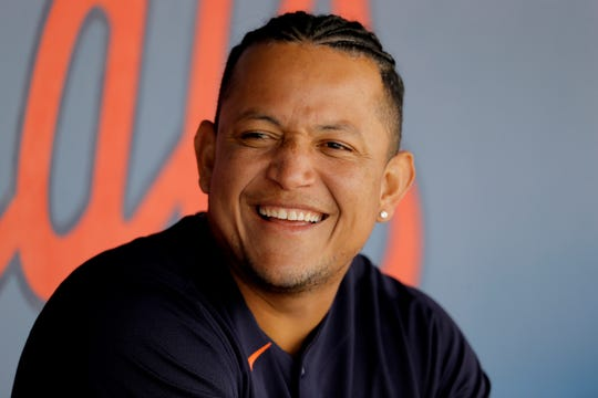 Tigers designated hitter Miguel Cabrera reacts in the dugout during the first inning of the Tigers' 2-1 loss in a spring training baseball game on Monday, March 9, 2020, in West Palm Beach, Florida.