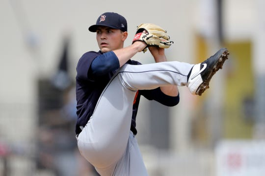 Tigers pitcher Tarik Skubal throws during the first inning of the Tigers' 2-1 loss in a spring training baseball game on Monday, March 9, 2020, in West Palm Beach, Florida.