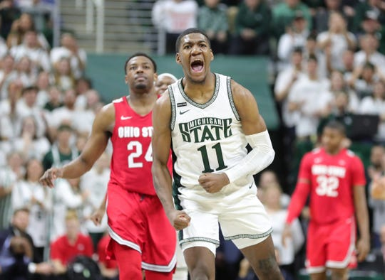 Michigan State forward Aaron Henry celebrates during the 80-69 win against Ohio State on Sunday, March 8, 2020 at the Breslin Center.