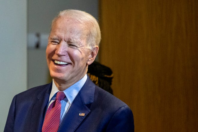Democratic presidential candidate former Vice President Joe Biden makes a campaign stop at Cherry Health - Heart of the City Health Center in Grand Rapids, Mich., on Monday, March 9, 2020.
