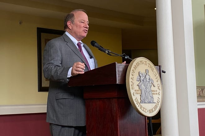 Detroit Mayor Mike Duggan announces a new affordable housing plan on Monday, March 9, 2020.