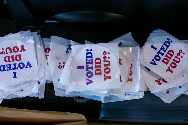 Voter stickers.