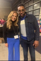 From left, Fox 2 News' Taryn Asher and singer, Apropos