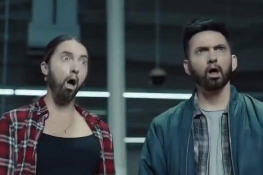 "A screen cap from Eminem's ""Godzilla"" music video."
