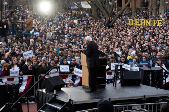 U.S. Senator and presidential candidate Bernie Sanders addresses the crowd on the campus of The University of Michigan, Sunday, March 8, 2020.