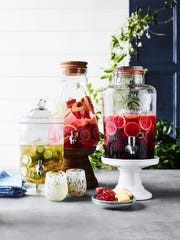 Beverage dispensers make a lovely display for refreshments when entertaining.