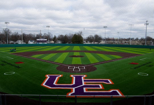 The new University of Evansville baseball field – now named German American Bank Field at Charles H. Braun Stadium – is made of AstroTurf and will have no clay or dirt on the infield. The Purple Aces will debut the new field against the visiting Indiana Hoosiers Tuesday night.