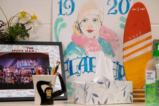 Memorabilia from Treva Pruden's past musical productions adorning a shelf in her room at Castle South Middle School Wednesday morning, March 4, 2020. Pruden is retiring this year after producing the school's musical theater program in 2009... the year the school opened.