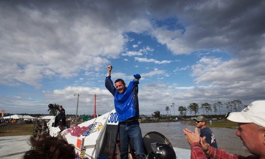 Tyler Johns  celebrates after winning the final race of the season at at the 2019-20 Swamp Buggy series at Florida Sports Park in Collier County on Sunday March, 8, 2020.