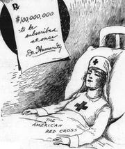 The national Red Cross, responding to American soldiers' departure for France in World War I, called for funds from local branches. This May 1918 drawing filled the front page of The Greenville News, where a major drive filled its pages for several weeks.