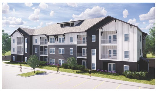A rendering of the planned NOVO Apartments in Mauldin on North Main Street across from C.F. Sauer.