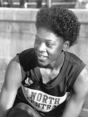 North Central's Maicel Malone at age of 17, in the summer before her senior year. Taken in June 1986, Malone had just won the 100-meter dash and 200 in the Athletic Congress Junior National Track Meet at Towson University in Baltimore.