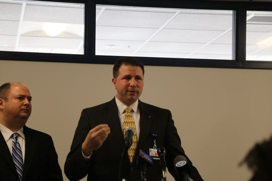 Martin Stallone, CEO of Cayuga Health System, speaks at a news conference Monday, March 9, regarding COVID-19.