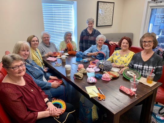 Knitters who regularly gather at CC's Coffee House in Ridgeland on Friday afternoons are from left, Angela Cotten of Madison, Millie Crosby of Madison, Olivia Redding of Madison, Marilyn Brantley of Madison, Kathy Kolar of Madison, Sherry Pratt of Ridgeland, Martha Armitstead of Madison, Sandra Green of Madison and Vicki Jefcoat of Madison. Not pictured is Pat Glassen of Madison.