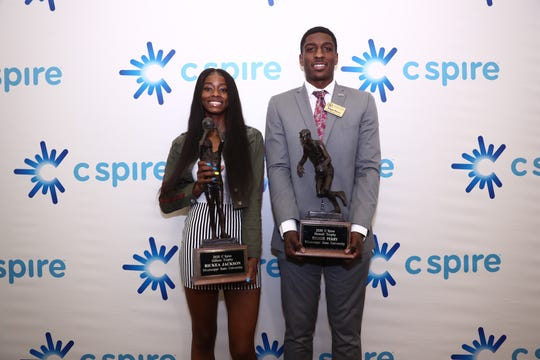 Mississippi State's Rickea Jackson and Reggie Perry won the Gillom and Howell Trophies to mark the third straight year Bulldogs have swept the awards.