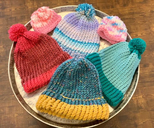Hats for adults and preemies are among creations of a group that meets on Fridays from 2-4 p.m. at CC's Coffee House in Ridgeland.