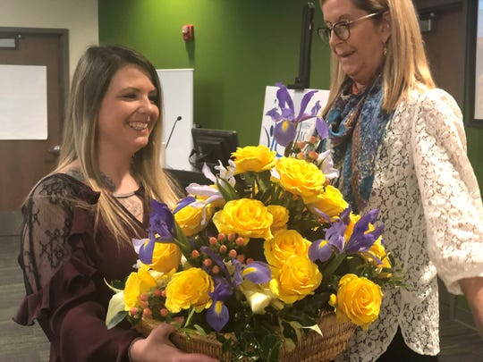 Stephanie Turnbow, Bethel University student and full-time working mother of three, was the winner of the Sue Shelton White Scholarship. Scholarship Committee Chair Debbie Swacker presented her with the scholarship Thursday, March 5, 2020.