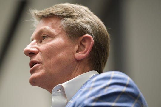 University of Tennessee interim President Randy Boyd speaks during a town hall meeting at the UTK Student Union in Knoxville on Monday, March 9, 2020. Boyd is touring UT campuses before a vote that could make him the permanent UT System president.
