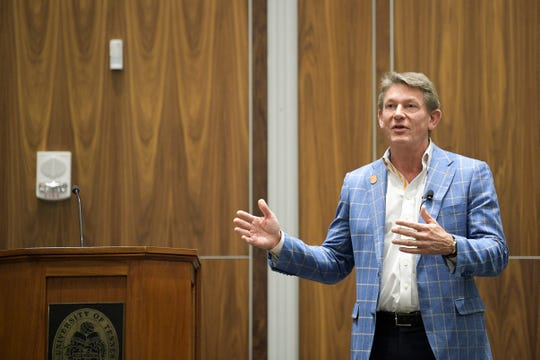 University of Tennessee System President Randy Boyd speaks during a town hall meeting at UT Knoxville on March 9.