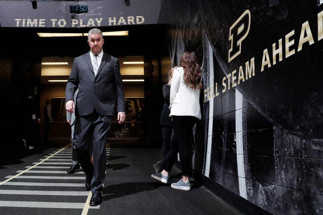 Mar 7, 2020; West Lafayette, Indiana, USA;  Purdue Boilermakers coach Matt Painter walks through the tunnel onto the floor before the game against the Rutgers Scarlet Knights at Mackey Arena. Mandatory Credit: Brian Spurlock-USA TODAY Sports