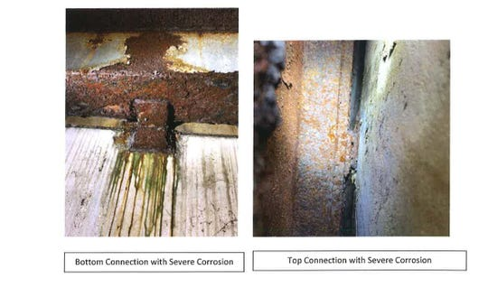 A report completed by Huval and Associates, Inc. shows corrosion of clips holding concrete panels to the Buchanan Street parking garage. The clips shown here have severe corrosion.