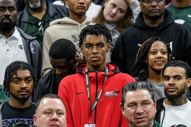 High school basketball star Emoni Bates looks on during Michigan State's game against Ohio State on Sunday, March 8, 2020, at the Breslin Center in East Lansing. The Spartans won a share of the Big Ten Championship.