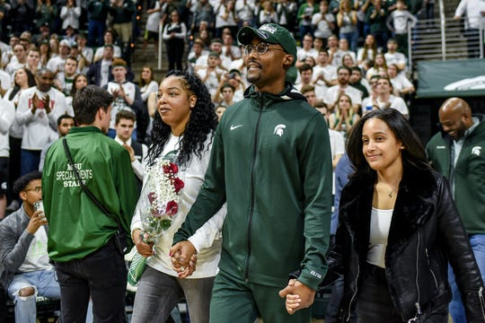 Michigan State's Joshua Langford is recognized during a senior day ceremony after beating Ohio State on Sunday, March 8, 2020, at the Breslin Center in East Lansing. The Spartans won a share of the Big Ten Championship.