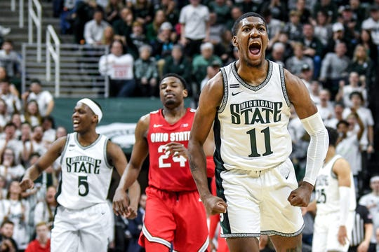 Michigan State's Aaron Henry celebrates after drawing a foul during the second half on Sunday, March 8, 2020, at the Breslin Center in East Lansing.