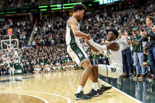 Rocket Watts, right, appears to be MSU's next point guard, while Malik Hall, left, will play a pivotal role at both small and power forward next season.